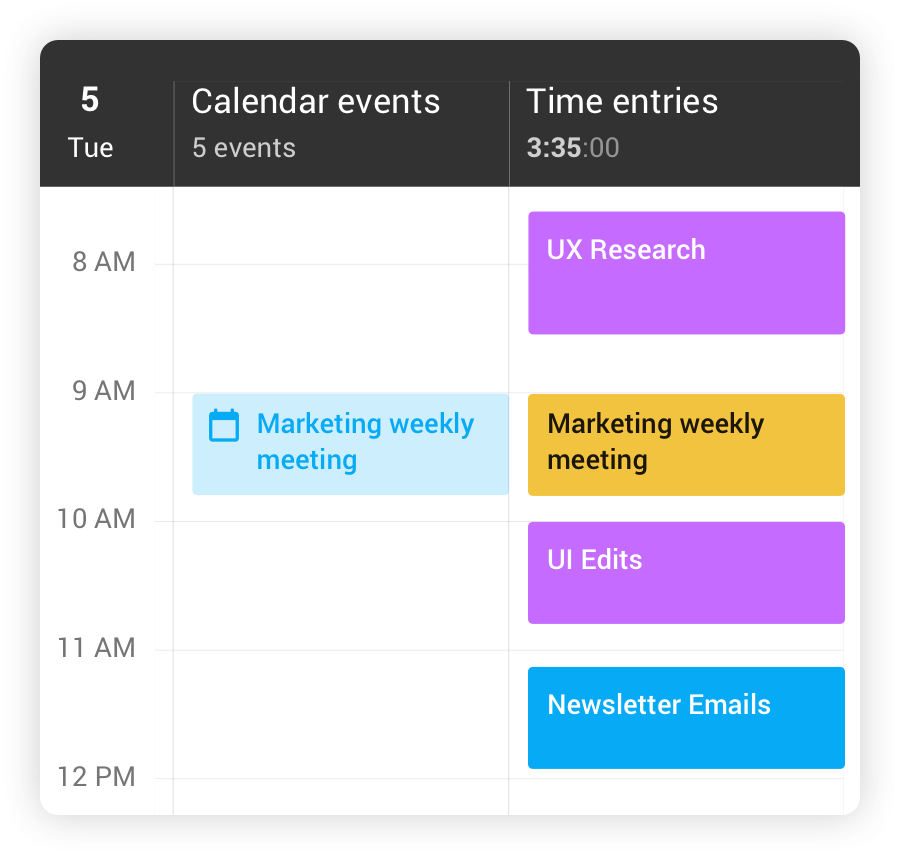 Calendar Integration with Toggl